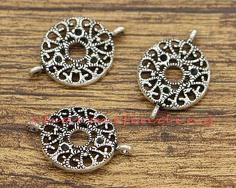 20pcs Round Connector Charms Filigree Charm Antique Silver Tone 24x16mm cf2019