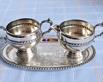 Vintage Viking Plate Silver Plated Cream and Sugar Set With Tray / E P Copper Cream and Sugar / E P Brass Tray / Mid Century Silver Plate