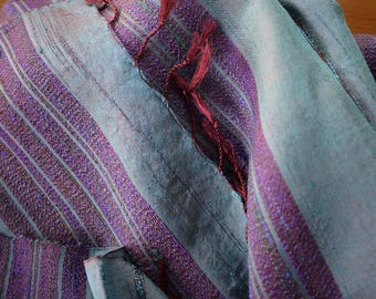 Traditional handwoven silk textile - asian tribal silk textile - handwoven traditional Thai scarf silk weaving - blue silk scarf