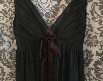 Whimsical Warner's Chiffon Nightgown, 1960s, Black Vintage Lingerie