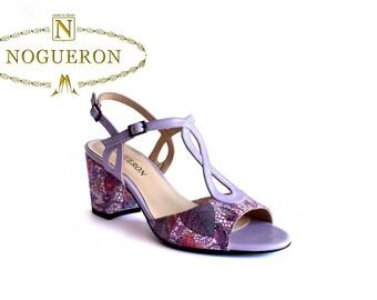 MARISOL VIOLETTE - Heeled sandals, womens shoes, leather, violet color with floral motifs, Spring Summer special Nogueron offer