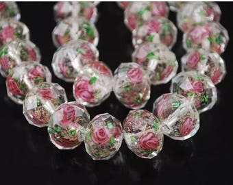 12 mm lampwork Glass Rondelle bead 10 pcs Champagne color