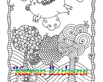 When Pigs Fly, 1 Adult Coloring Book Page, Printable Instant Download, Karen Lukens