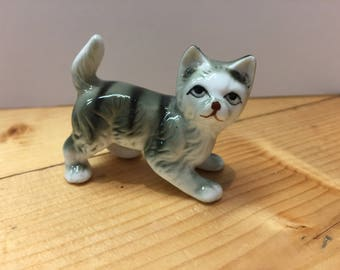 Vintage Ceramic Grey Tabby Kitten Ornament Cute and Kitsch
