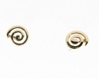 9ct Yellow Gold Swirl Design Stud Earrings