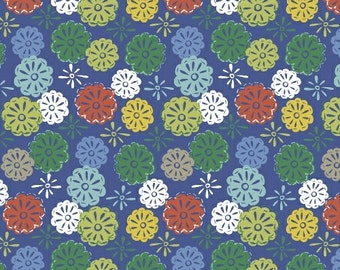 Windham Fabrics, Mouse Camp Flowers Corduroy (blue), by Erica Hite, per half-yard