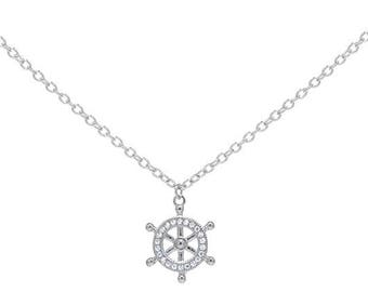 Sterling Silver Ship Wheel Pendant with Chain
