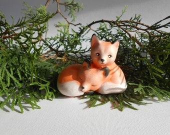 Garden decor, Baby foxes figurine,Fox cub miniature, Ceramic figurine,Fairy garden figurines,Ceramic fox figurine,Fairy garden accessories,