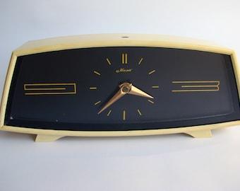 Vintage 70s Soviet Table Clock, Desk Clock, Large Clock, Russian Mechanical Clock, Black Clock, Mayak, Made in USSR
