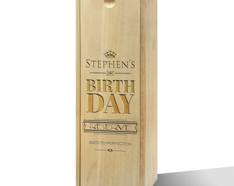 Personalised Birthday Reserve Slide Wooden Wine Box