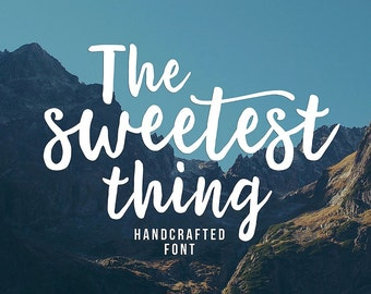 The Sweetest Thing Font, Modern Font, Handpainted Font, Handbrushed Font, Handmade Font, Brush Font, Display Font, Digital Font Download