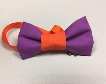 Orange and purple bow tie