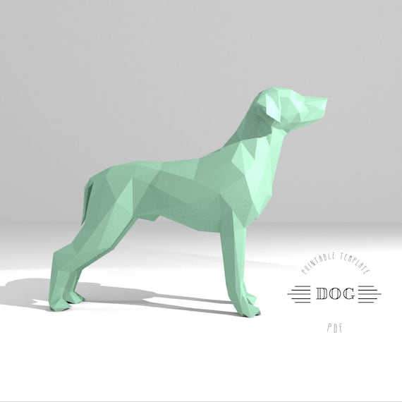 Printable Diy Template Pdf Dog Low Poly Paper Model 3d