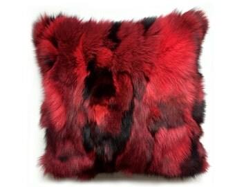 fur pillow red fox fur u0026 red velvet fur scatter cushion real fur
