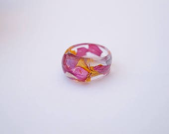 Ring Pink Geranium - Resin jewelry - Flower jewelry