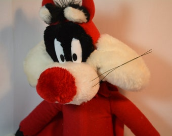 "Vintage Looney Tunes, 18"" Sylvester, Cartoon, Stuffed Cat, Devil Costume"