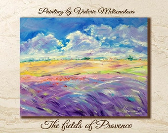 Lavender painting, Lavender landscape, Oil painting, Original painting, Gift for her, France, Palette knife, Wall art, Decor home, Provence