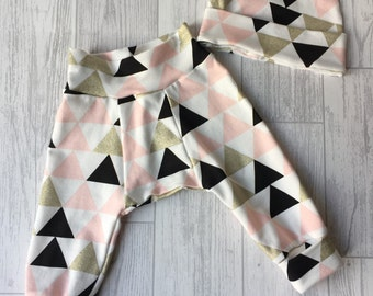 Girls Gold Glitter Geometric Triangle, Hareem Style Bottoms with Matching Hat Set Age 3-6mths
