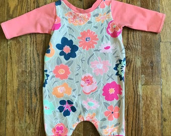 Baby Girl Romper, Floral Romper, Harem Romper, Toddler Romper, Girls Romper, Kids Clothing, Baby One Piece, Baby Girl Coverall, 0-3 Months