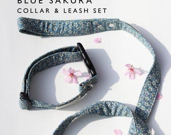 Blue Sakura leash and collar set, dog lead and collar