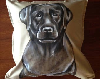 Labrador - hand painted cushion cover beige