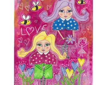 "Best friend gift, Sister gift, BFF gift, Mixed media print of orginal artwork titled ""Sisterhood"""