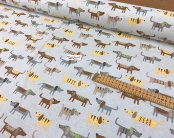 100% cotton linen look fabric , dog, sheep,cats,hen, kids, curtains