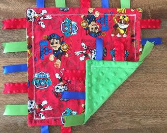 Paw Patrol Minky Baby Tag Blanket // Security Blanket // Ribbon Blanket // Teething Blanket