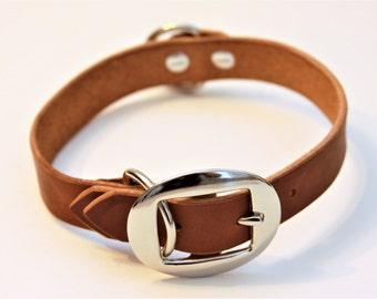 Medium Genuine Leather Dog Collar (Walnut) 17''
