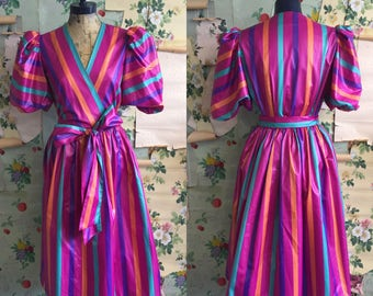 Vintage 1970s/1980s Candy Stripe Jewel Toned Muticolored Dress. Medium. Act 1. Pink, purple, teal turquoise.