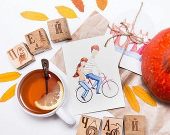 Сyclists postcard, card, bicycle illustration, print, gift, love cards, couple
