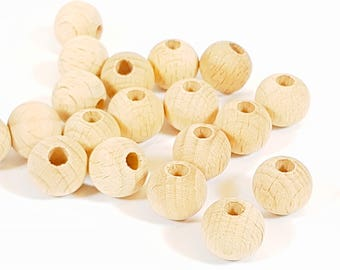 12mm Round Natural Wood Bead (5mm hole), large wooden beads, large beads, teething necklace, teething beads, large hole beads, chunky beads