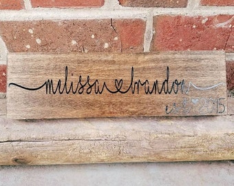 Couples Wooden Sign, Wood, Stained Sign, Bridal Gift, Wedding Gift