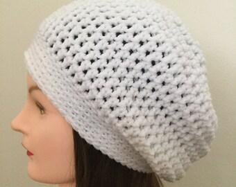 Crochet slouchy beanie hat white