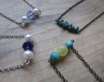 Four Beaded Bar Necklaces