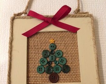 Christmas Tree Button Wood Sign