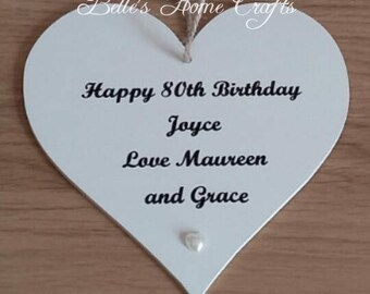 Wall hanging personalised birthday heart plaque
