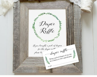 Diaper Raffle Printable, Baby Shower Games, Diaper Raffle Ticket and Sign, Instant Download, Rustic Green Wreath, Digital PDF #013DR