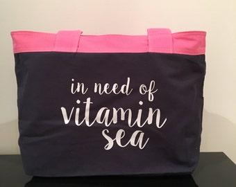 in need of vitamin sea bag, beach bag, beach tote, canvas bag
