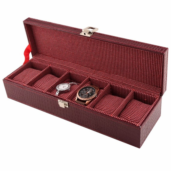 Slim Watch Box for Men, Jewelry Box, Watch Case, Valet Box, Anniversary Present, Christmas Gift, Gift for Husband, Croc design