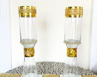 "Set of 2 gold 16"" tall Vase, wedding Centerpice."