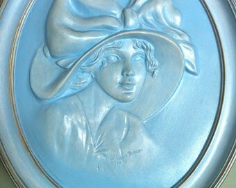 Erma Gillilard Duncan 1910 Ceramic Wall Plaque/Erma Gillilard Duncan/Modern Art Deco/Cameo Wall Plaque/Vintage Ceramic Wall Plaque/Cameo