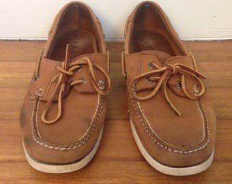 Free US Shipping | Vintage LL Bean Men's Tan Leather Boat Shoes Moccasins | US 9