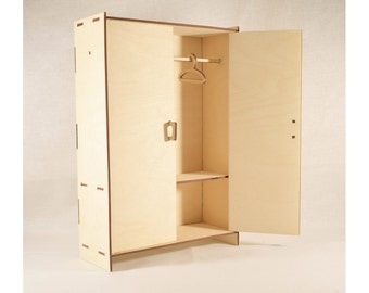 Dollhouse wardrobe, wooden barbie furniture, barbie wardrobe, doll wardrobe, dollhouse furniture,dollshouse miniature,1 12 scale, 1 6 scale