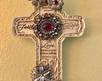 Inspirational Purple Silver Jeweled Cross wall hanging