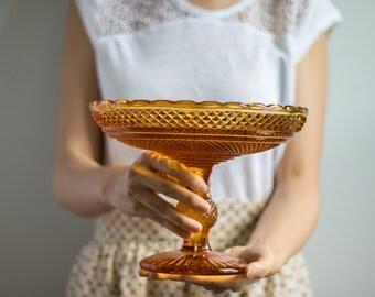 Vintage Amber Glass Pedestal Dish, Vintage Amber Footed Serving Dish