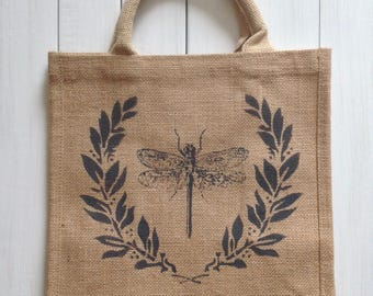 Dragonfly jute tote bag gift bag rustic stenciled distressed market bag purse burlap shabby chic French country