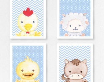 Set 4 Farm Animal Prints - Pink/Blue/Yellow - Changeable Characters and Backgrounds