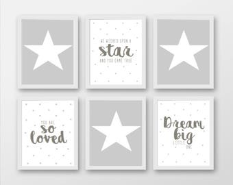 Set 6 Grey And White Star Themed Nursery Prints