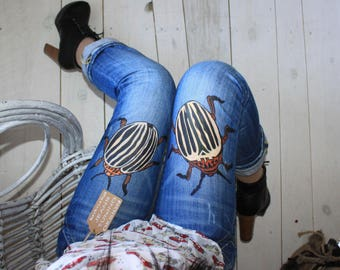 Jeans festival clothing Hand Painted Paint Jeans with a pattern Hand Painted Jeans Drawing on jeans Wearable beetle Beetles Beetles on jeans